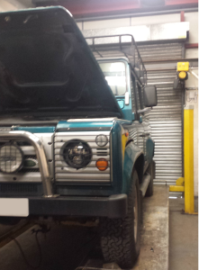 Defender 110 before its new raptor coating.